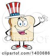 Clipart Of A White Sliced Bread Character Mascot Wearing An American Top Hat Royalty Free Vector Illustration by Hit Toon