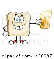 Clipart Of A White Sliced Bread Character Mascot Holding A Beer Royalty Free Vector Illustration by Hit Toon