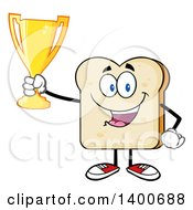 Clipart Of A White Sliced Bread Character Mascot Holding A Trophy Royalty Free Vector Illustration by Hit Toon