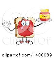 Clipart Of A White Sliced Bread Character Mascot Gesturing Ok And Serving Jam Royalty Free Vector Illustration