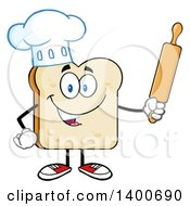 Clipart Of A White Sliced Bread Baker Chef Character Mascot Holding A Rolling Pin Royalty Free Vector Illustration by Hit Toon