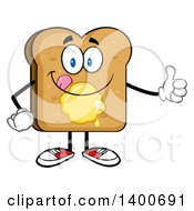 Clipart Of A Toasted Bread Character Mascot With Butter Giving A Thumb Up And Licking His Lips Royalty Free Vector Illustration by Hit Toon