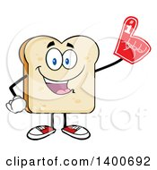 Clipart Of A White Sliced Bread Character Mascot Wearing A Foam Finger Royalty Free Vector Illustration by Hit Toon