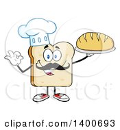 Clipart Of A White Sliced Bread Baker Chef Character Mascot Serving A Loaf Royalty Free Vector Illustration by Hit Toon