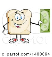 Clipart Of A White Sliced Bread Character Mascot Holding Cash Money Royalty Free Vector Illustration by Hit Toon