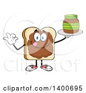 Clipart Of A White Sliced Bread Character Mascot Geturing Ok And Serving Peanut Butter Royalty Free Vector Illustration by Hit Toon