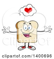 Clipart Of A Loving White Sliced Bread Character Mascot With Open Arms Royalty Free Vector Illustration by Hit Toon