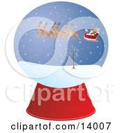 Santa And Reindeer Flying In A Snowglobe On Christmas