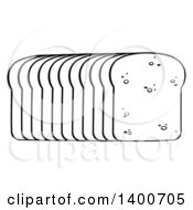 Clipart Of A Black And White Lineart Loaf Of Sliced Bread Royalty Free Vector Illustration