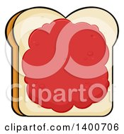 Clipart Of A Piece Of White Sliced Bread With Jam Royalty Free Vector Illustration