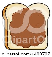 Clipart Of A Piece Of White Sliced Bread With Peanut Butter Royalty Free Vector Illustration