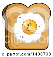 Clipart Of A Piece Of Toasted Bread With A Fried Egg Character Royalty Free Vector Illustration