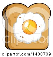 Clipart Of A Piece Of Toasted Bread With A Fried Egg Royalty Free Vector Illustration by Hit Toon