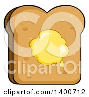 Clipart Of A Piece Of Toasted Bread With Butter Royalty Free Vector Illustration