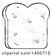 Clipart Of A Black And White Lineart Piece Of White Sliced Bread Royalty Free Vector Illustration