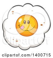 Clipart Of A Fried Egg Character Licking His Lips Royalty Free Vector Illustration