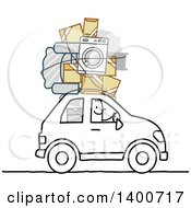 Clipart Of A Stick Man Moving With His Belongings On Top Of His Car Royalty Free Vector Illustration