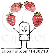Clipart Of A Stick Man Juggling Strawberries Royalty Free Vector Illustration by NL shop