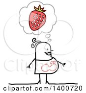 Clipart Of A Pregnant Stick Woman Craving Strawberries Royalty Free Vector Illustration