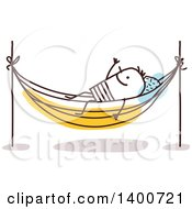 Clipart Of A Stick Man Resting On A Hammock Royalty Free Vector Illustration by NL shop