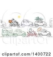 Clipart Of A Traffic Jam Of People Going Off On Summer Vacation Royalty Free Vector Illustration