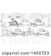 Clipart Of A Grayscale Traffic Jam Of People Going Off On Summer Vacation Royalty Free Vector Illustration
