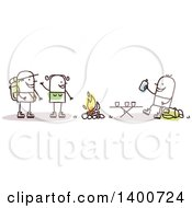 Clipart Of A Stick Couple Making A Friend While Camping And Hiking Royalty Free Vector Illustration by NL shop