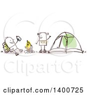 Clipart Of A Hiker Stick Couple Camping Around A Fire Royalty Free Vector Illustration