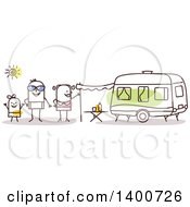 Poster, Art Print Of Camping Stick Family By A Caravan