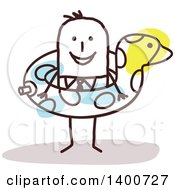 Clipart Of A Stick Businessman Wearing A Duck Inner Tube Royalty Free Vector Illustration