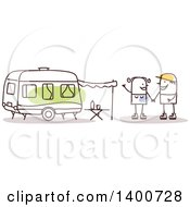 Clipart Of A Stick Couple Holding Hands By A Camper Royalty Free Vector Illustration by NL shop