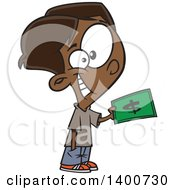 Clipart Of A Cartoon Happy Black Boy Purchasing Something With Cash Money Royalty Free Vector Illustration