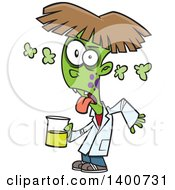 Clipart Of A Cartoon Boy Turning Into A Monster After Driking A Chemical From The Science Lab Royalty Free Vector Illustration by toonaday