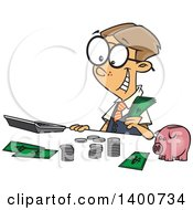 Cartoon Young Caucasian Accountant Boy Counting Money By A Piggy Bank