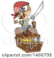 Clipart Of A Cartoon Pirate Boy Holding A Sword And Sitting On A Treasure Chest Royalty Free Vector Illustration by toonaday