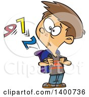 Clipart Of A Cartoon School Boy Watching Numbers Escape From His Backpack Royalty Free Vector Illustration by toonaday