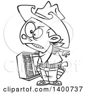Clipart Of A Cartoon Black And White Young Cowboy Carrying A Tv Royalty Free Vector Illustration