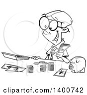 Cartoon Black And White Young Accountant Boy Counting Money By A Piggy Bank