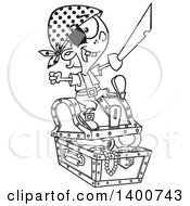 Clipart Of A Cartoon Black And White Pirate Boy Holding A Sword And Sitting On A Treasure Chest Royalty Free Vector Illustration