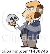 Poster, Art Print Of Cartoon Man Charles Darwin Holding A Skull And Thinking