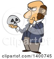 Clipart Of A Cartoon Man Charles Darwin Holding A Skull And Thinking Royalty Free Vector Illustration by Ron Leishman