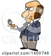 Clipart Of A Cartoon Man Charles Darwin Holding A Bird And Thinking Royalty Free Vector Illustration by toonaday