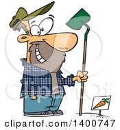 Clipart Of A Cartoon Man Holding A Hoe And Standing Over A Carrot Row In A Garden Royalty Free Vector Illustration