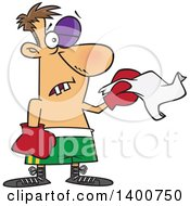 Clipart Of A Cartoon White Male Boxer With Missing Teeth And A Black Eye Throwing In The Towel Royalty Free Vector Illustration by Ron Leishman