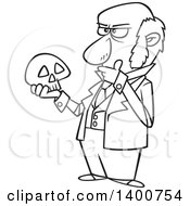 Clipart Of A Cartoon Black And White Man Charles Darwin Holding A Skull And Thinking Royalty Free Vector Illustration