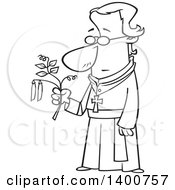 Clipart Of A Cartoon Black And White Friar Man Gregor Mendel Holding A Pea Plant Royalty Free Vector Illustration