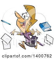 Clipart Of A Cartoon Happy Dirty Blond White Female Teacher Running And Tossing Items On The Last Day Of School Royalty Free Vector Illustration by Ron Leishman