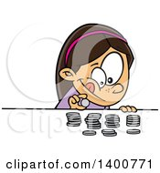 Clipart Of A Cartoon Brunette White Girl Counting Her Money Royalty Free Vector Illustration