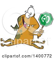 Clipart Of A Cartoon Monster Holding A Go Sign Royalty Free Vector Illustration by toonaday