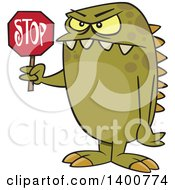 Clipart Of A Cartoon Monster Holding A Stop Sign Royalty Free Vector Illustration by toonaday